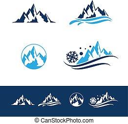 ロゴ, 山, 岩, セット, 平ら
