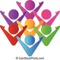 ロゴ, 幸せ, チームワーク, カラフルである, 人々