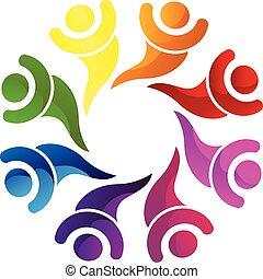 ロゴ, 幸せ, チームワーク, ビジネス