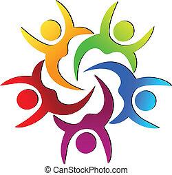 ロゴ, 幸せ, チームワーク, 人々