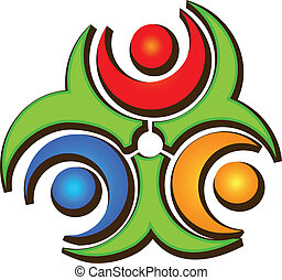 ロゴ, 幸せ, チームワーク, 3人の人々