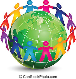 ロゴ, 幸せ, 人々, のまわり, 世界