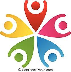 ロゴ, 幸せ, 人々, チームワーク