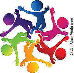 ロゴ, 幸せ, 多様性, チームワーク