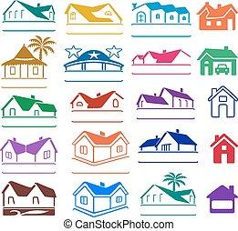 ロゴ, 建物, セット, サイン