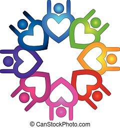 ロゴ, 形, 人々, チームワーク, 心