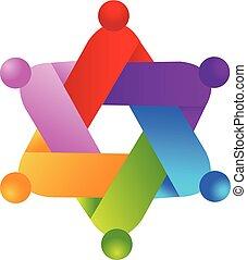 ロゴ, 形, 人々, 星, チームワーク