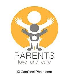 ロゴ, 心配, 愛, 親