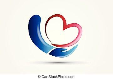 ロゴ, 心, アイコン, 手を持つ