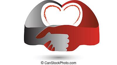 ロゴ, 心, シンボル, 握手