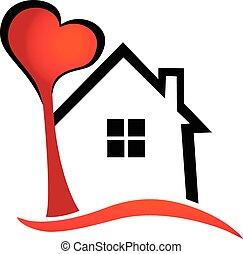 ロゴ, 心, ベクトル, 木の家
