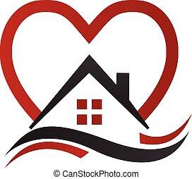 ロゴ, 心, ベクトル, 波, 家