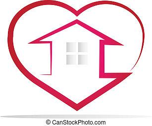 ロゴ, 心, 家, シルエット