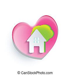 ロゴ, 心, 家, 木