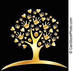 ロゴ, 心, 木, 金, 手