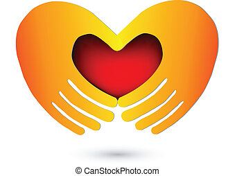 ロゴ, 心, 赤, 手