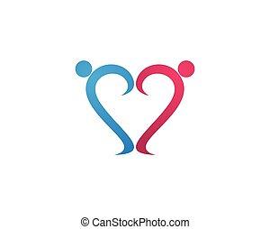 ロゴ, 愛, 家族, 人々