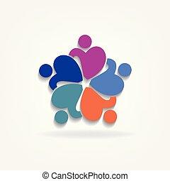 ロゴ, 慈善, アイコン, チームワーク, 人々