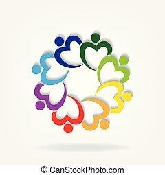 ロゴ, 慈善, チームワーク, 人々