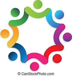 ロゴ, 慈善, ベクトル, チームワーク, 人々