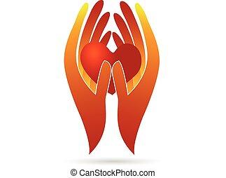 ロゴ, 慈善, heart., 手を持つ