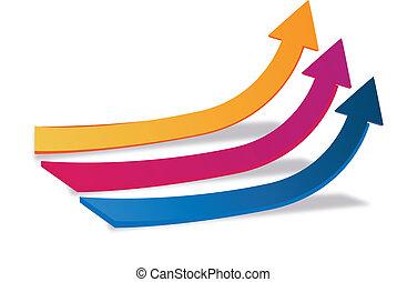 ロゴ, 成長, 矢, ビジネス