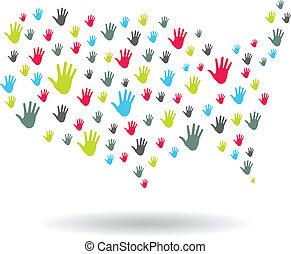 ロゴ, 手, アメリカ, 地図