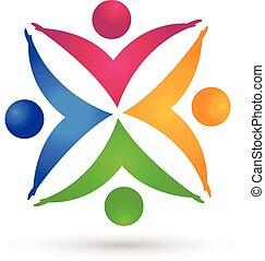 ロゴ, 手, チームワーク, カラフルである, 人々