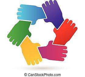 ロゴ, 手, チームワーク, 人々