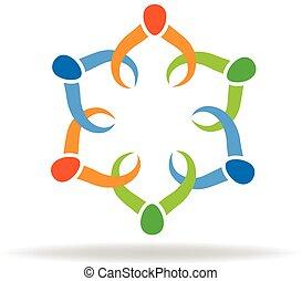 ロゴ, 手, チームワーク, 保有物, 人々