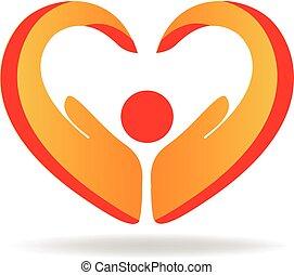 ロゴ, 手, 愛, 人々, 心