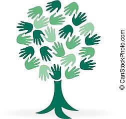 ロゴ, 手, 木, 緑, 人々