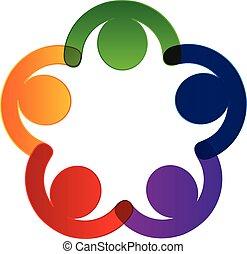 ロゴ, 把握, チームワーク, 手