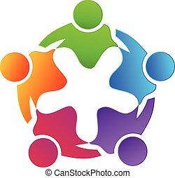 ロゴ, 抱擁, チームワーク, カラフルである, 人々