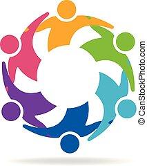 ロゴ, 抱擁, チームワーク, ビジネス 人々