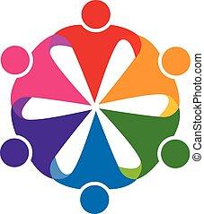 ロゴ, 抱擁, チームワーク, 人々, アイコン