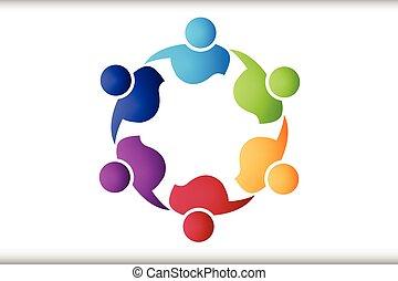 ロゴ, 抱擁, チームワーク, 人々