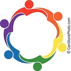 ロゴ, 抱擁, 友情, アイコン, チームワーク