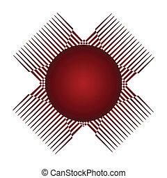 ロゴ, 抽象的なデザイン, 赤