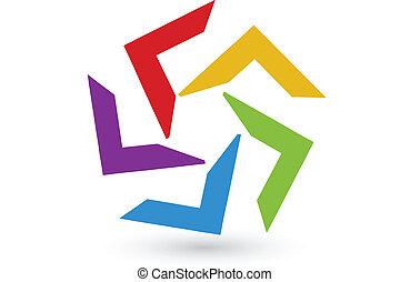 ロゴ, 抽象的, カラフルである, アイデンティティー