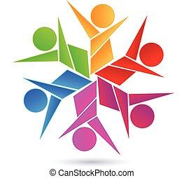 ロゴ, 抽象的, チームワーク, デザイン