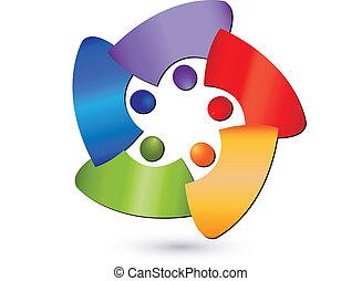 ロゴ, 抽象的, チームワーク, 人々