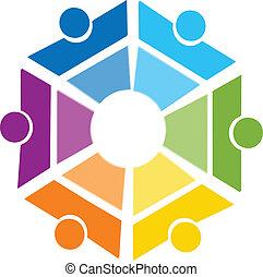 ロゴ, 抽象的, チームワーク, 幾何学的