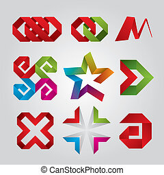 ロゴ, 抽象的, テープ, コレクション