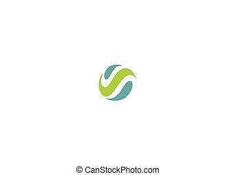 ロゴ, 抽象的, ベクトル, エコロジー, 円