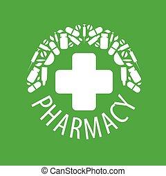 ロゴ, 抽象的, ベクトル, 緑の背景
