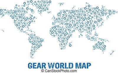 ロゴ, 抽象的, 地図, ギヤ, 世界
