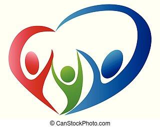 ロゴ, 抽象的, 愛, 家族