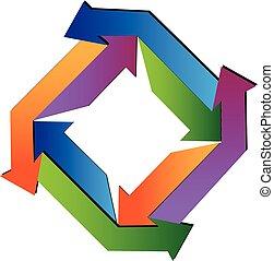 ロゴ, 抽象的, 矢, 幾何学的