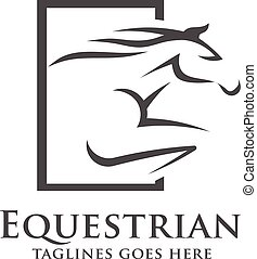 ロゴ, 抽象的, 競争, 馬, テンプレート